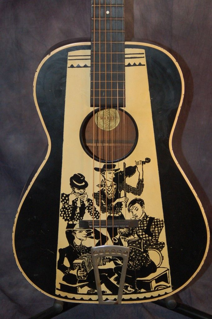 Vintage Guitars for Sale – 1935 Montgomery Wards Hilly Billy Parlor Guitar with Original Case SOLD | Lawman Guitars