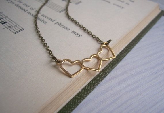 Gold Hearts charm necklace  dainty sweetheart row. These delicate hearts hang on fine chain. A beautifully simple and sweet necklace. Was £16 NOW £7 themagpiesdaughter #valentinesdaygiftideas  #loveheartnecklace