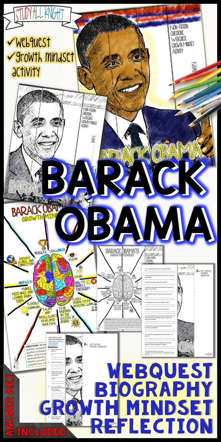 Perfect for Black History Month and promoting a growth mindset. Activity focuses on Barack Obama's American story, biography webquest and engaging growth mindset activity. Your students will use the mind map organizer to identify events, endeavors, accomplishments, and qualities from their reading that fit into Barack Obama's growth mindset. Skills enforced are using textual evidence, inference, and analysis ($).
