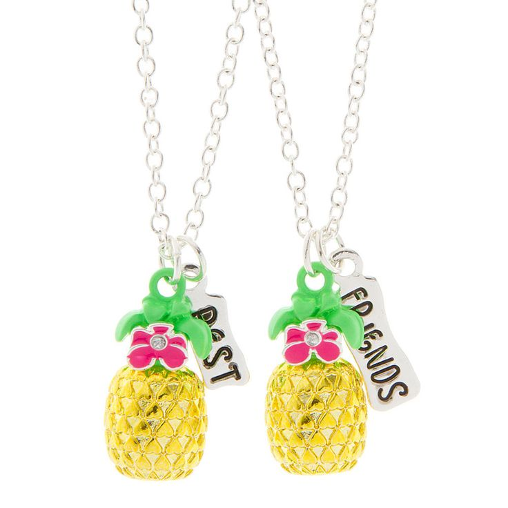 Best Friends Tropical Flowers and Pineapples Pendant Necklaces Set of 2