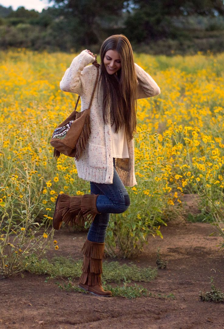How to wear tall fringe boots