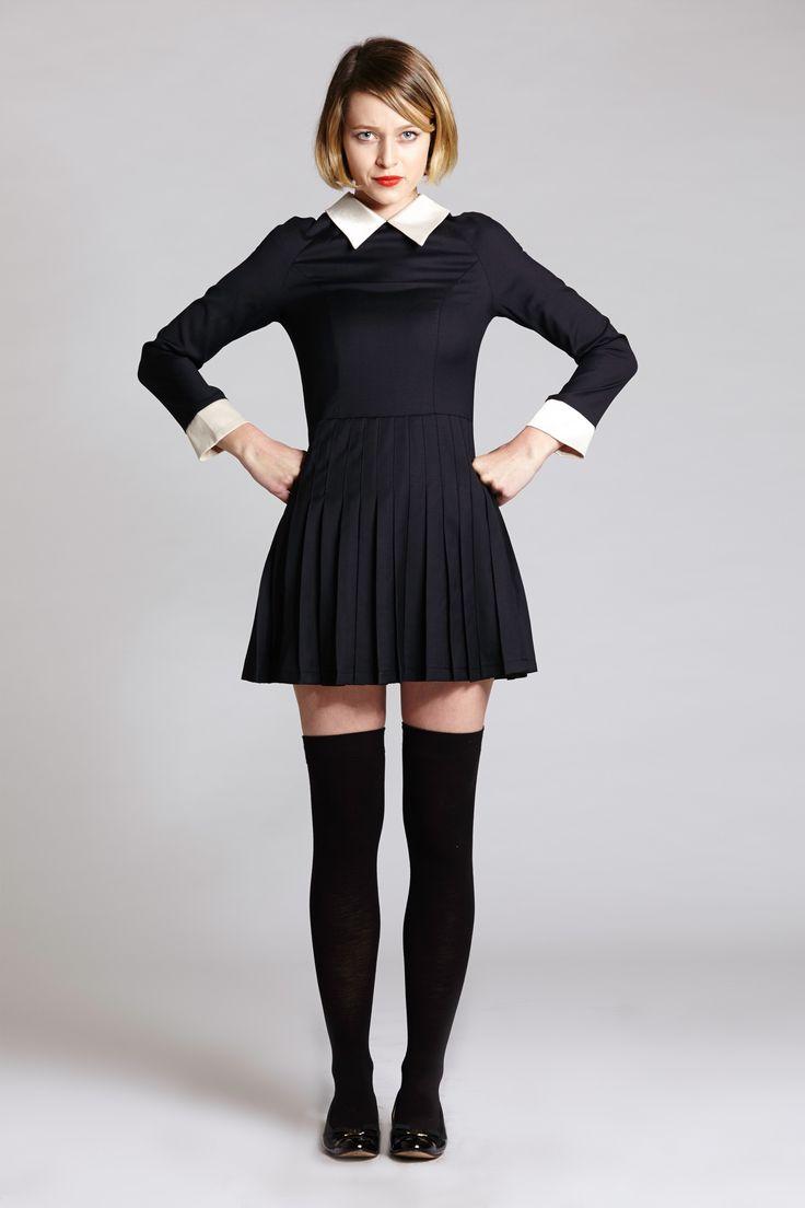 Black dress with white peter pan collar -  Peter Pan Collar Black Dress Thigh Highs