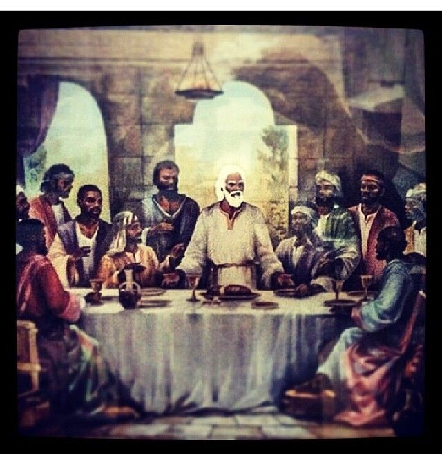 """A more accurate depiction of the last supper . Whites might not like this. Why does color matter you ask? Well If color doesnt matter then why is it not ok for """"jesus"""" to be black? Beside the bible says """"his hair is like white wool"""" (blacks are the only ppl with wooly hair) """" and his feet are like burnt brass"""" (Brass is brown/black when burnt) ."""