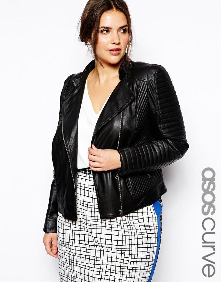 Women's plus size black leather jacket