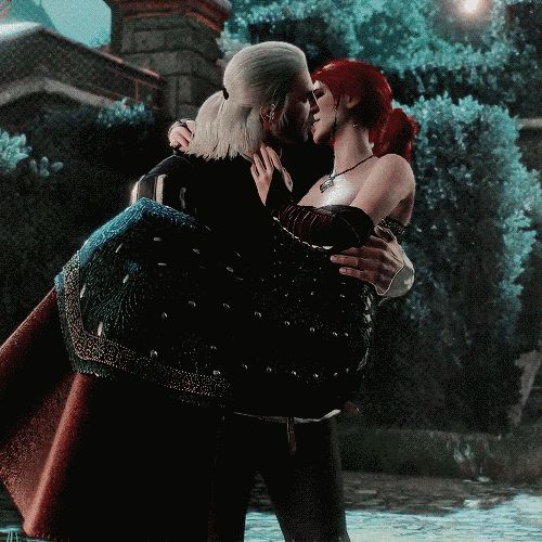 "That time he kissed Triss. | Community Post: 22 Times Geralt Of Rivia From ""The Witcher 3"" Looked Sexy AF"