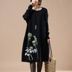 Black floral sweaters long knit dress