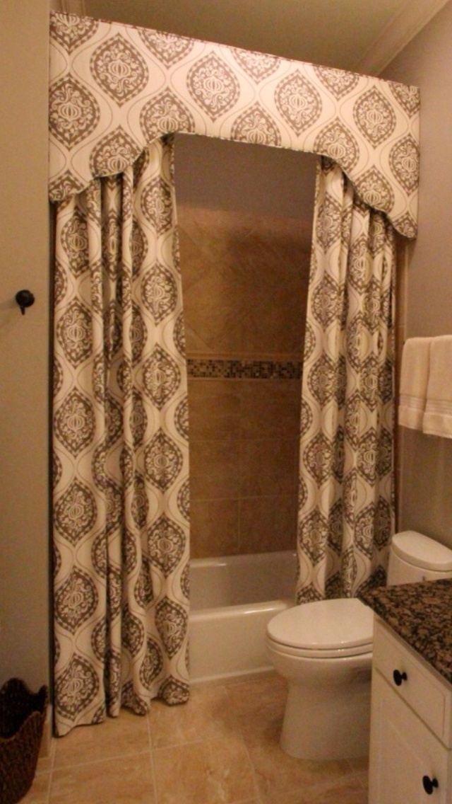 Custom shower curtain and cornice camille moore for Bathroom window curtains