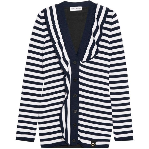 Sonia Rykiel - Ruffled Striped Knitted Cardigan ($336) ❤ liked on Polyvore featuring tops, cardigans, midnight blue, embellished cardigan, embellished top, collar top, collar cardigan and multi color cardigan