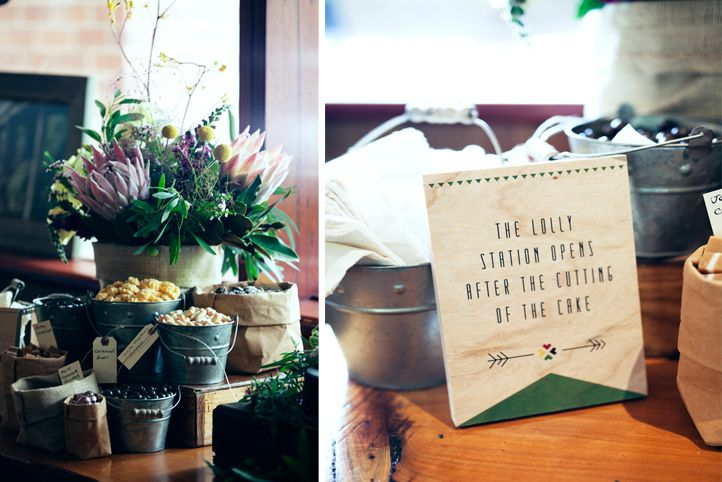 "LETTUCE & CO - STYLE. EAT. PLAY 'outback engagement"" country side engagement party. native florals foliages table arrangements. flowers in a box. rustic engagement party. lolly table. print on wood lolly station sign. concept design and event styling by lettuce & co."