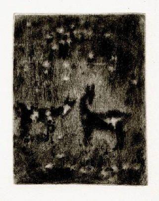 Bohuslav Reynek Kůzlata / Kids suchá jehla / dry point 14,2 x 11,3 cm, 1953, otisk z původní desky, opus G 329