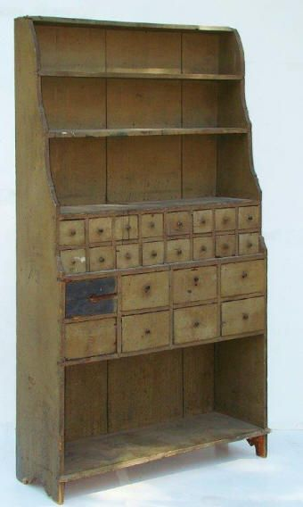 Unusual Apothecary Cupboard,odd drawer is supposedly original to piece.