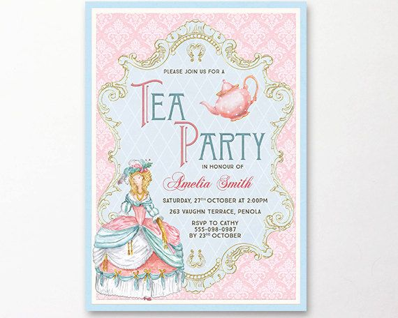 Marie Antoinette tea party invitation printable. Perfect for bridal showers, kitchen teas and tea parties. This listing is for a personalized