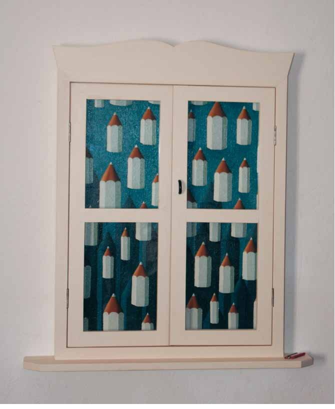 """La nevicata"" 2011, olio su tela e legno, 70x55  #contemporaryart #bencich #snow #pencils"