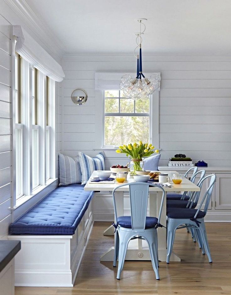 Cozy blue and white breakfast nook.