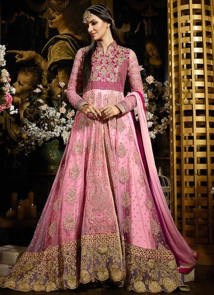 Pink Heavily Embroidered Anarkali Suit