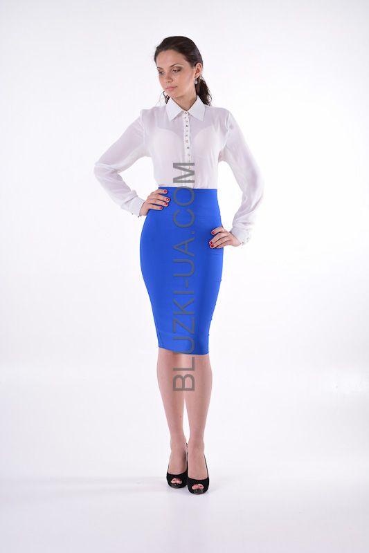 Стрейтчевая плотно облегающая синяя юбка-миди с широкой кокеткой в области талии Valia - купить в…