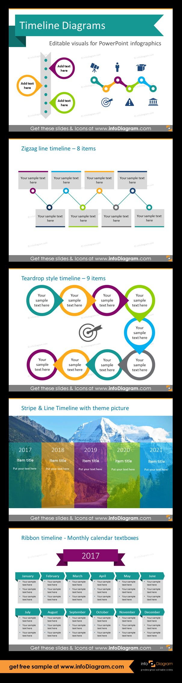 Template slides for Timeline diagrams and Time infographics. Editable PowerPoint graphics for showing history, agenda, linear process flow charts, project timelines, planning phases and roadmaps by modern infographics. Apply zigzag-shaped timeline if you want to present more than 5 key activities and illustrate them with icons. Teardrop, zigzag, stripe and line, ribbon style timelines. Make a strongly visual impact at the same time being expressive and compact within your slides.