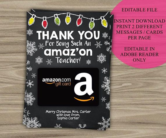 Please note that this is an EDITABLE PDF file. Size of cards is 5 x 7 inches. Your file prints 2 cards per 8.5 x 11 inch page or A4 sized page. You can enter a different message on each card. The wording THANK YOU for being such an amazon Teacher is fixed text and CANNOT be changed. You