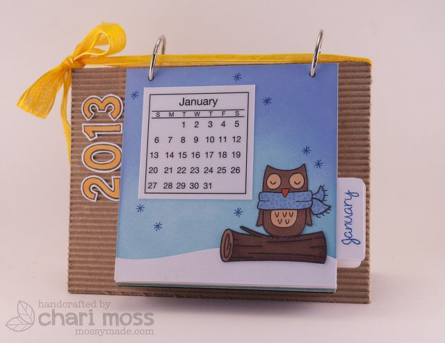 Cute calendar by Chari Moss, via Flickr  Lawn Fawn stamps & SRM stickers