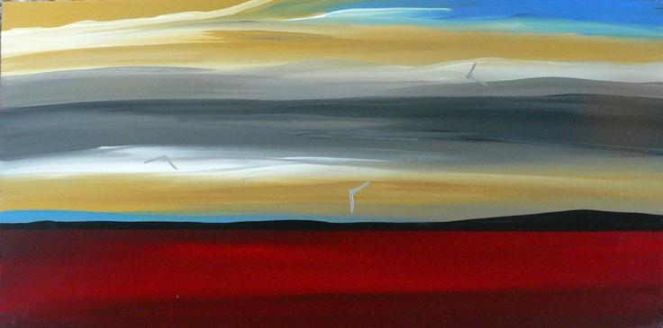 Title: Desert Highway: Title: Original landscape painting by artist Megan Morris, painted in acrylics onto framed canvas.