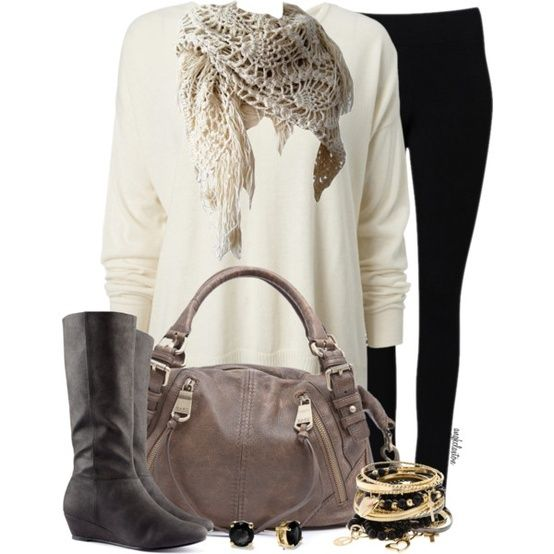 Tunic, Leggings Scarf and Boots cute for fall :) | Womens Fashion