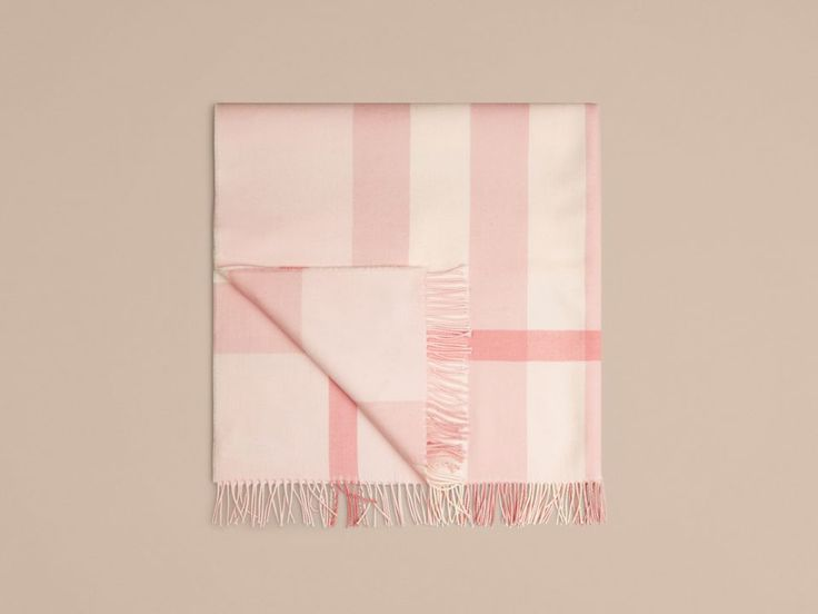 Check Cashmere Baby Blanket in Powder Pink | Burberry - cell image 4