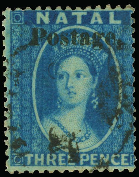 """Philasearch.com - Natal, Scott 19A, SG 34. 19A (34) 1869 3d blue Q Victoria overprinted """"Postage."""" SG Type 7b (12¾mm long), perf 14, vastly undercatalogued as only 2 or 3 panes were printed with this stamp only occurring 20 times, lightly canceled, thin spot at top, VF, with BPA certificate  Erhaltung   Anbieter Colonial Stamp Company  Saalauktion Ausruf: 535.00 US$ (ca. 424 EUR)"""