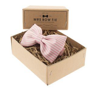 MRS BOW TIE Horizontal Stripes on Pink