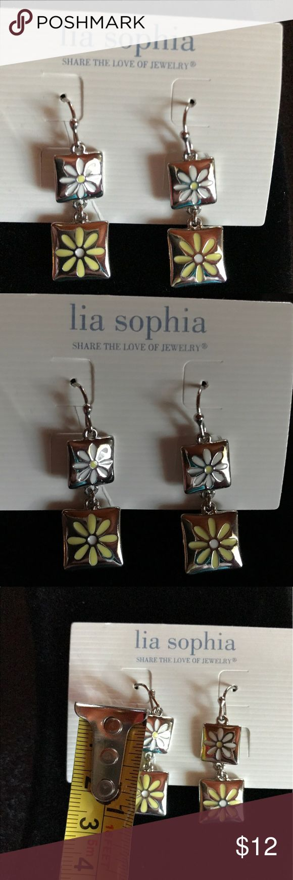 "🌝 Sun Kissed Lia Sophia Earrings 🌝 NWOT 🌝 Used As Display Only, Never Worn🌝 Silver Tone With Daisies🌝 1"" Dangle Earrings 🌝 Fast Shipper 🌝Smoke Free Home🌝 Lia Sophia Jewelry Earrings"