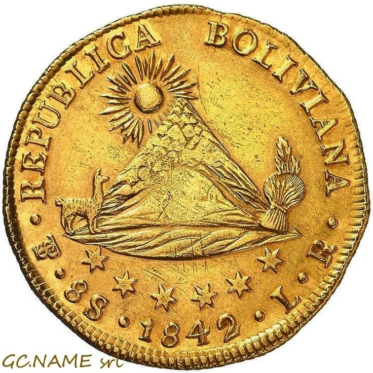 Bolivia: Potosí. Gold 8 Escudos, 1842 PTS LR. Rare. Oro Or#466