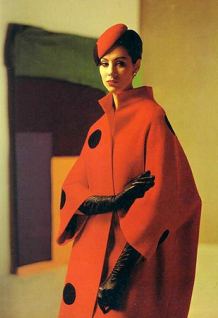 Red coat and beret with large black polka dots, by Pierre Balmain, French, 1961.