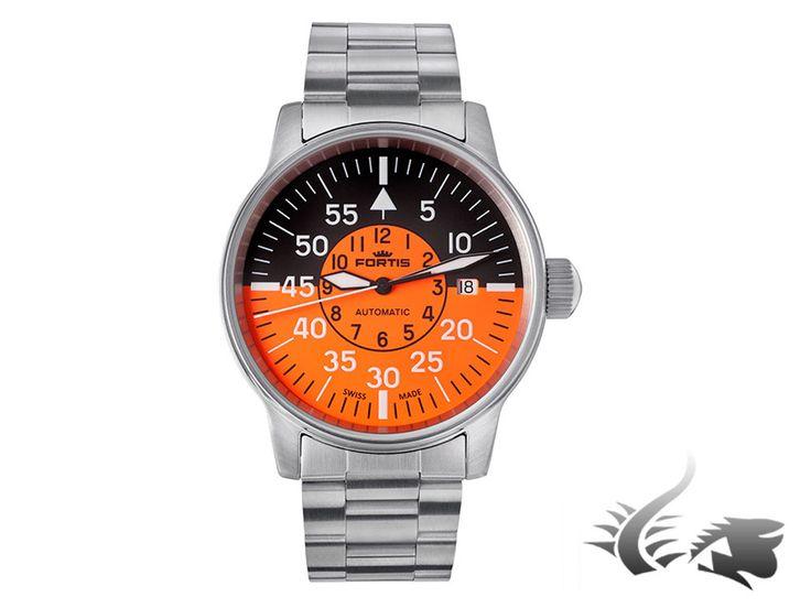 Fortis Flieger Cockpit Automatic Watch, ETA 2824-2, Black-Orange, Stee | Iguana Sell