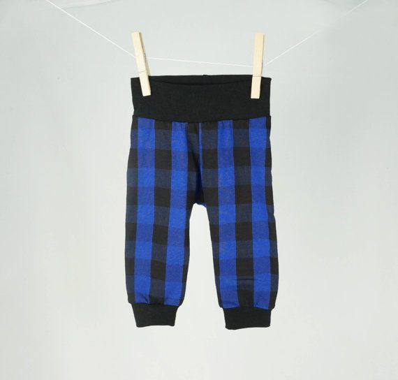 Unisex baby clothes blue plaid baby leggings by pineapplepetekids
