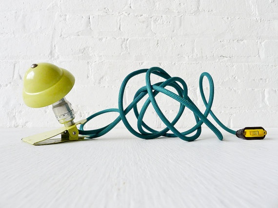 Industrial Night Light - Neon Lime Vintage Mini Machine Age Clip Lamp w Emerald Green Color Cord. $155.00, via Etsy.