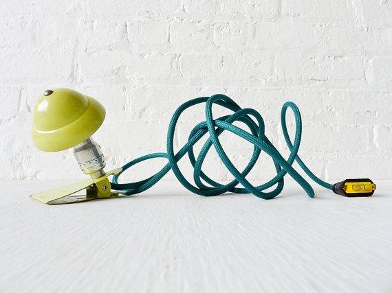 Industrial Night Light - Neon Lime Vintage Mini Machine Age Clip Lamp w Emerald Green Color Cord. $155.00, via Etsy.