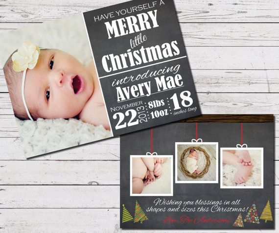 Christmas Birth Announcement Custom Photo by SimplyExtravagantInv, $10.00