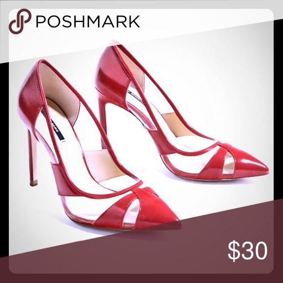 ZARA vinyl red court shoes.  New with box Uniquely cute red and clear vinyl pump. Zara Shoes Heels