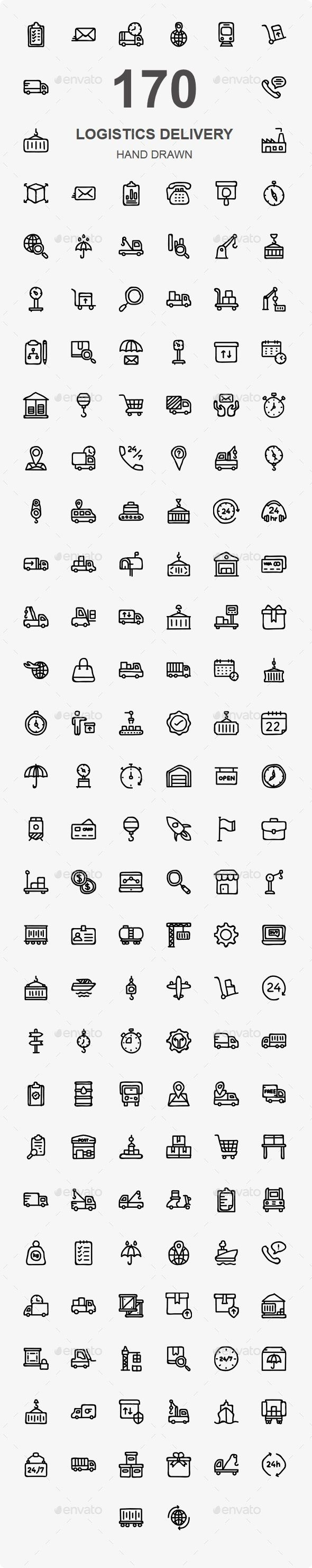 170 Logistic Delivery Hand Drawn icons — Photoshop PSD #boat #transportation • Available here ➝ https://graphicriver.net/item/170-logistic-delivery-hand-drawn-icons/20600476?ref=pxcr