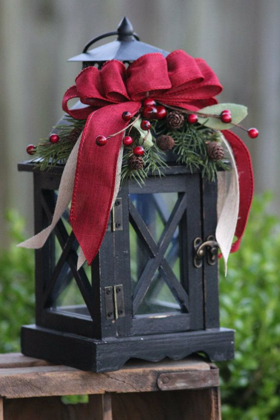 Rustic christmas wooden lantern home decor