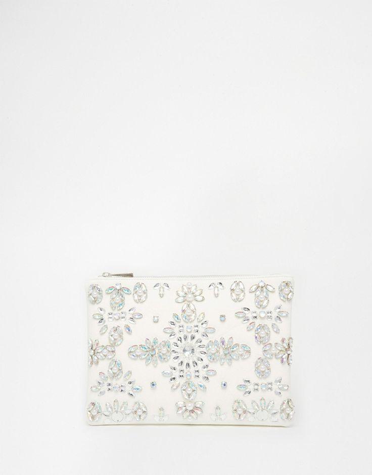 ASOS WEDDING Jewel And Pearl Clutch Bag