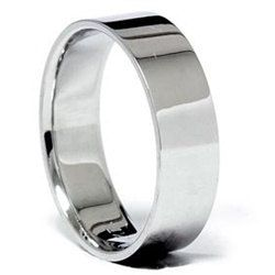Mens 6MM Flat White Gold Wedding Band Ring Size 7 12