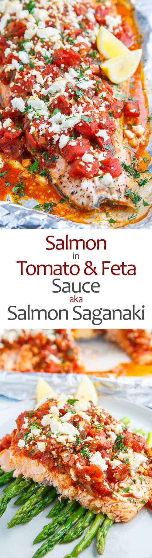 Salmon in a Tomato and Feta Sauce (aka Salmon Saganaki)                                                                                                                                                      More
