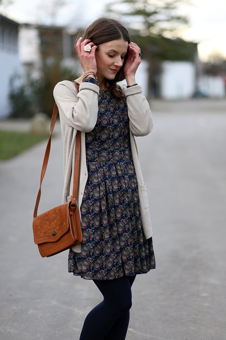 I like the look of a patterned dress under a long cardi. And the purse is beautiful!