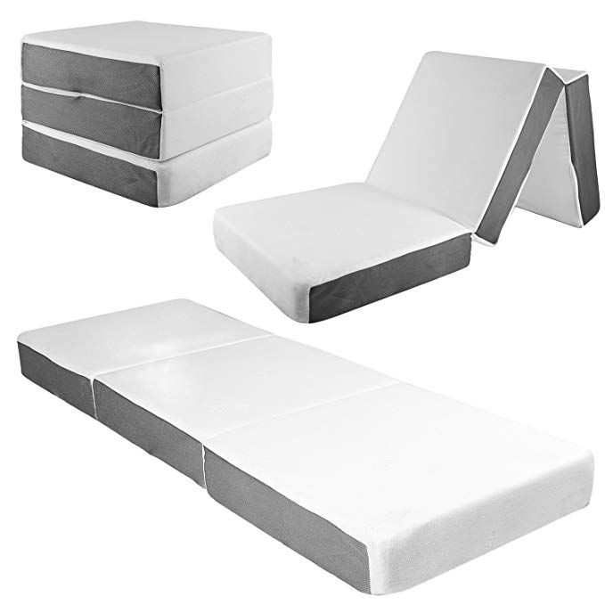 Samay 6 Inch Tri Folding Memory Foam Mattress Includes Waterproof Mattress Protector And Washable Folding Mattress Folding Foam Mattress Waterproof Mattress