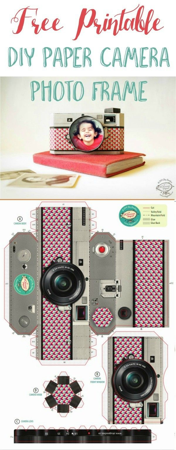 Free Printable DIY Paper Camera Photo Frame | Printable gifts | Download this unique paper camera template from SkyGoodies and TodaysCreativeLife.com