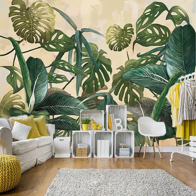 Retro Tropical Regen Wald Palm Banana Blatter Wandbild Tapete 3d Wohnzimmer Hintergrund Tapeten Fur Wande 3d Farben Und Tapeten Wandbild Wand Tapete Wohnzimmer