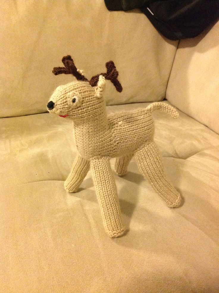 """Knit reindeer - pattern by Fiona Goble """"T'was the Knits Before Christmas"""""""