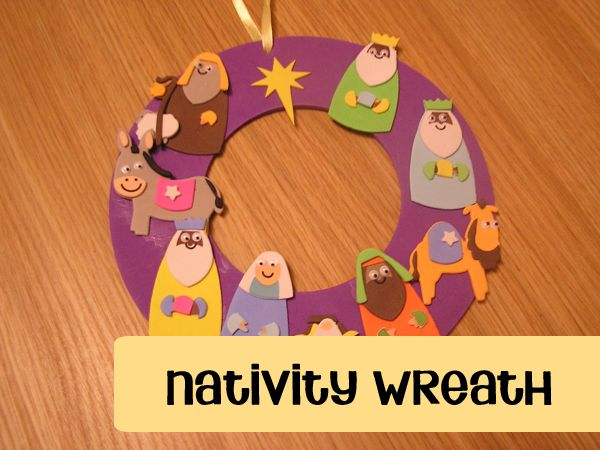 A Nativity Wreath to craft with your presschoolers as you talk through the Nativity Story