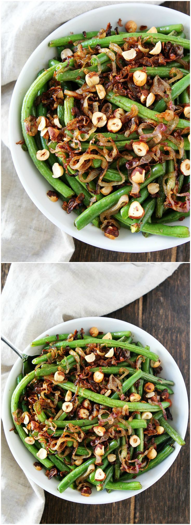 Green Beans with Brown Butter, Crispy Shallots, and Hazelnuts Recipe on twopeasandtheirpod.com This easy vegetable side dish goes great with any meal.