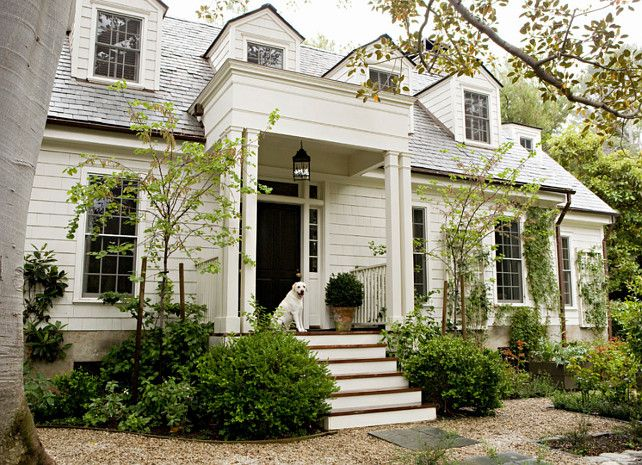 The main paint color is Benjamin Moore's Swiss Coffee in flat finish, and the trim is Benjamin Moore's Swiss Coffee in semi-gloss finish. #HomeExteriorPaintColor  #BenjaminMooreSwissCoffee #BenjaminMoorePaintColors